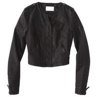 Xhilaration® Junior's Quilted Cropped Faux Leather Jacket -Black