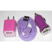 Gogo Surge Purple Color USB Travel Kit with Car Charger and USB SYNC Cable Adapter with Pink Wall Charger for Apple iPod & iPhone (ANY MODEL)