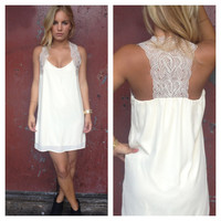 Ivory Crochet T-Back Dress