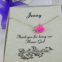 Flower Girl Necklace, Personalized Flower Girl Gift, Fuchsia Rose Necklace, Girls Flower Necklace , CD14