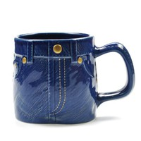 ZLB Creative Jean-like Colored Glaze Mug Color Dark Blue