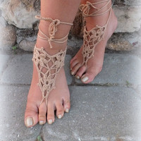 Tan Crochet Barefoot Sandals, Nude shoes, Foot Jewelry, Wedding, Victorian Lace, Sexy, Anklet , Bellydance,Beach Footwear