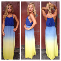 Blue & Yellow Ombre Maxi Dress