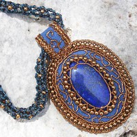 Lapis Pendant Blue Glass Bead Necklace Embroidered Woven Light Bronze