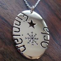 Oval Personalised Silver Pendant Necklace with Snowflake and Star