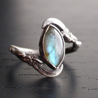All Seeing Eye Ring - Starling Birds claw and Labradorite