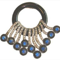 Black Vintage Lucite Pin with Rhinestones