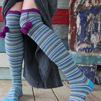 KNEE HIGH HAPPY SOCKS PURPLE/T - Junk GYpSy co.