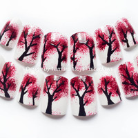 Forest Fire Fake Nails with Red Burning Trees