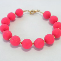 Pink Polymer Clay Bracelet with Gold Accents