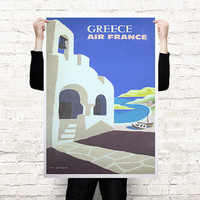 Greece retro travel art print poster