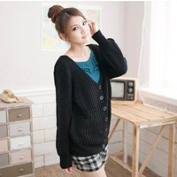 Cute Hollow-out Cross Design Single-breasted Cardigan Kniting Sweater Top Coat Black
