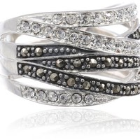 Sterling Silver 6-Row Marcasite and Crystal Ring, Size 8