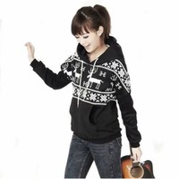 Girls Deer Hooded Hedging Tiny Sweater Coat 3 Colors New Arrival Super:Amazon:Clothing