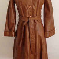 Vintage 1970s Spy Belted Leather Trenchcoat James Bond