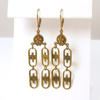 Long Dangle Earrings - Brass Art Deco Vintage Style Boho Dangle Chandelier Jewelry