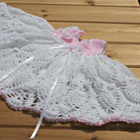 Baby crochet dress lace Little girl dresses infant child party clothes white pink handmade girl clothes baby gift 3-9 mth crochetyknitsnbits