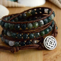 Earthy bohemian beaded bracelet. Boho chic natural triple wrap bracelet