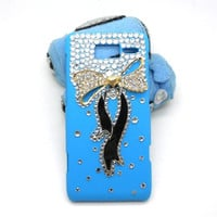 Handmade hard case for Motorola Droid Razr M: Bling Elegant Diamond Bow (customized are welcome)