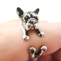 French Bulldog Puppy Dog Animal Wrap Ring in Shiny Silver Size 4 to 9