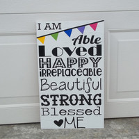 I Am... 12x18 Wood Sign by TheCraftyGeek86 on Etsy