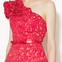 Silk One Shoulder Corded Laser-Cut Lace Dress by Marchesa Couture at Gilt