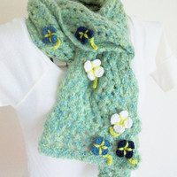 Knit Scarf Green Blue Removable Flower Buttons Handmade Boho Art Nouveau Romantic