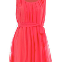 Coral ruffle shoulder dress - Clothing - Dorothy Perkins