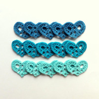 Blue wedding decorations crochet small hearts applique by eljuks