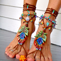 PEACOCK Feather BAREFOOT sandals Toe Ankle bracelet Beach Wedding soleless shoes Photography props HIPPIE foot jewelry