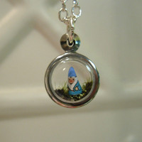 Tiny Terrarium Garden Gnome Pendant by workofwhimsy on Etsy