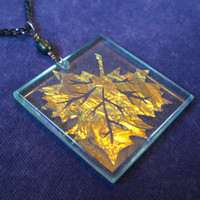 Maple leaf dichroic glass pendant by OrnamentalGlass on Etsy