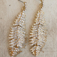 Sparkling Feather Earrings [4357] - $12.00 : Vintage Inspired Clothing & Affordable Summer Frocks, deloom | Modern. Vintage. Crafted.