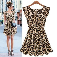 Sexy Casual Leopard Print Chiffon Dress