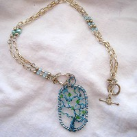 Tree of Life Chain Necklace Silver and Blue and Green Handmade | MDavisDesigns - Jewelry on ArtFire