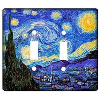 Van Gogh Starry Night Double Light Switch Art Cover by woodendoll