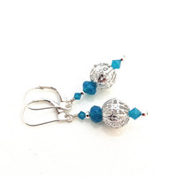 Teal Earring, Silver Filagree Earring, Aqua Earring, Long Turquoise Earring, Silver and Aqua Dangle, Caribbean Blue Earring