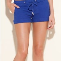 GUESS NORA EASY LINEN SHORTS, BLUE (LARGE)
