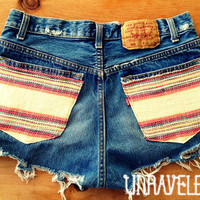 High Waist Denim Shorts Size Small by UnraveledClothing on Etsy