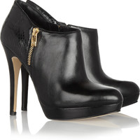 MICHAEL Michael Kors | York leather and python-effect boots | NET-A-PORTER.COM