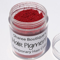 Bright Red Hair Pigment - Temporary Hair Color - Hair Chalk Alternative - Colored Sparkle