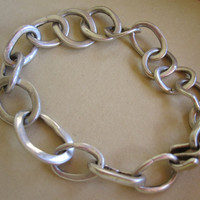 Bracelet of Heavy Sterling Links by JudithGayleDesigns on Etsy
