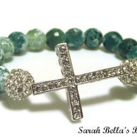 Cha-Ching. Green Sideways Cross Gemstone Bracelet