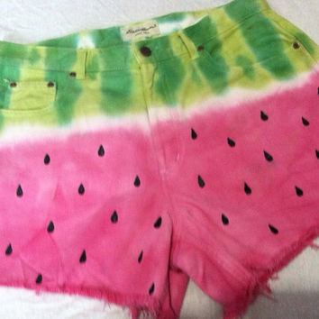 Watermelon plus size denim shorts