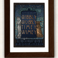 Poster Art Nouveau tardis , Doctor quote and the Weeping Angel