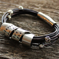 $88.00 Personalized Silver and Leather Bracelet by 2sistershandcrafted