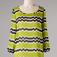 Seismograph Blouse: Chartreuse [21-T1045-56-STGN] - $27.99 : Spotted Moth, Chic and sweet clothing and accessories for women