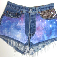 GALAXY Studded Cut Off High Waisted Denim | fresh-tops.com
