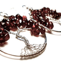 Garnet Tree of Life Earrings in Silver by OddsAndEndsByKaley