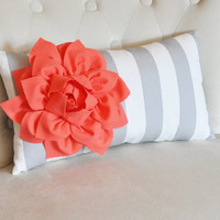 Stripe Lumbar Pillow Coral Dahlia on Gray and White Striped Lumbar Pillow 9 x 16